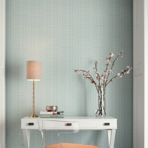 OL2783 York Wallcovering Candice Olson Journey Illusion Wallpaper Blue Room Setting