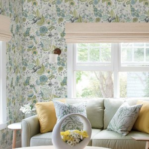 2821-12803 Brewster Wallcovering A Street Prints Folklore Whimsy Fauna Wallpaper Green Room Setting