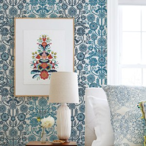 2821-25106 Brewster Wallcovering A Street Prints Folklore Lovebirds Folk Stripe Wallpaper Navy Room Setting