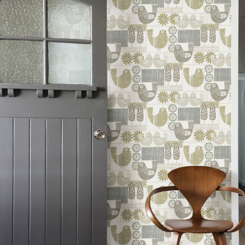 2821-25116 Brewster Wallcovering A Street Prints Folklore Hennika Patchwork Wallpaper Grey Room Setting