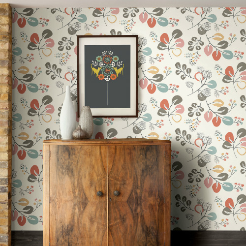 2821-25122 Brewster Wallcovering A Street Prints Folklore Jona Trail Wallpaper Multi-Color Room Setting