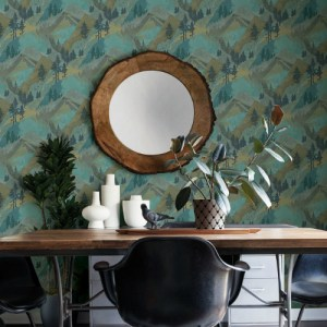3118-12632 Brewster Wallcovering Chesapeake Birch and Sparrow Range Mountain Wallpaper Green Room Setting