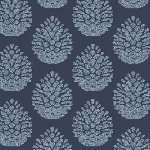 3118-25092 Brewster Wallcovering Birch and Sparrow Totem Pinecone Wallpaper Navy