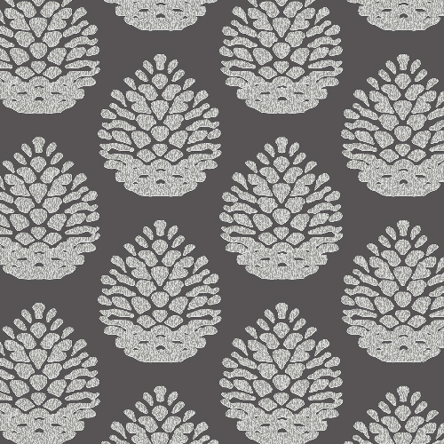3118-25093 Brewster Wallcovering Birch and Sparrow Totem Pinecone Wallpaper Charcoal