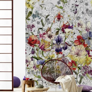 4-201 Brewster Wallcovering Komar Flora Wall Mural Room Setting