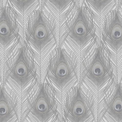 G67977 Norwall Patton Wallcovering Organic Textures Peacock Wallpaper Grey