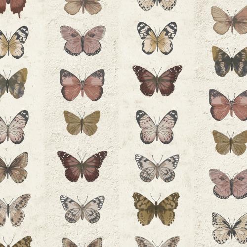 G67992 Norwall Patton Wallcovering Organic Textures Jewel Butterflies Stripe Wallpaper Rust