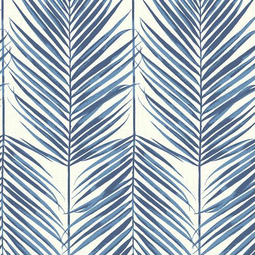 MB30002 Seabrook Wallcovering Beach House Paradise Palm Wallpaper Coastal Blue