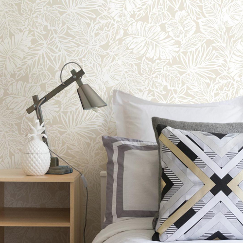 RMK11199RL York Wallcovering RoomMates Tropical Leaf Peel and Stick Wallpaper Tan Room Setting