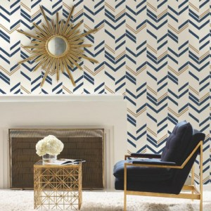 RMK9002WP Chevron Stripe Peel and Stick Wallpaper Blue Room Setting