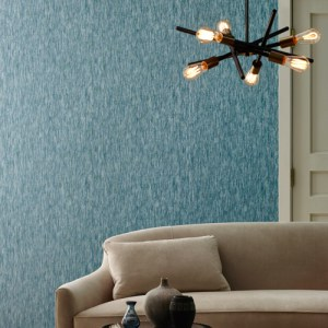 Y6231004 York Wallcovering Antonina Vella Natural Opalescence Opalescent Stria Wallpaper Blue Room Setting