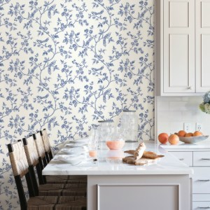 2813-24972 Brewster Wallcovering Advantage Kitchen Ray Bird Trail Wallpaper Navy Room Setting