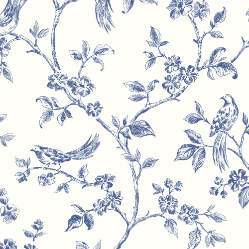 2813-24972 Brewster Wallcovering Advantage Kitchen Ray Bird Trail Wallpaper Navy