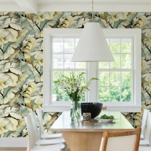 2813-SY5151P Brewster Wallcovering Advantage Kitchen Ramsay Banana Leaf Wallpaper Green Room Setting
