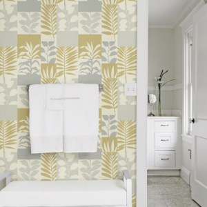 2814-M1834 Brewster Wallcovering Advantage Bath Hammons Block Botanical Wallpaper Gold Room Setting
