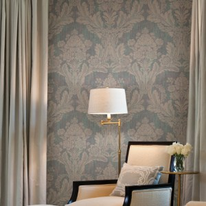 2835-M1407 Brewster Wallcovering Advantage Deluxe Zemi Damask Wallpaper Teal Room Setting