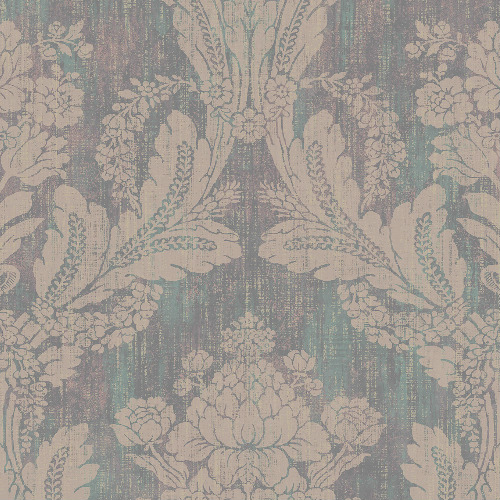 2835-M1407 Brewster Wallcovering Advantage Deluxe Zemi Damask Wallpaper Teal