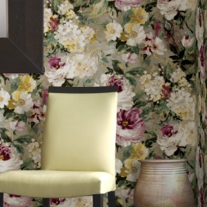 2835-SY5111P Brewster Wallcovering Advantage Deluxe Macau Painterly Floral Wallpaper Magenta Room Setting