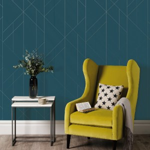 2889-25200 Brewster Wallcovering A Street Prints Terence Conran Plain Simple Useful Torpa Geometric Wallpaper Blue Room Setting