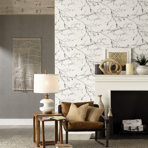 RN1524 York Wallcovering Norlander Winter Branches Wallpaper Off-White Room Setting