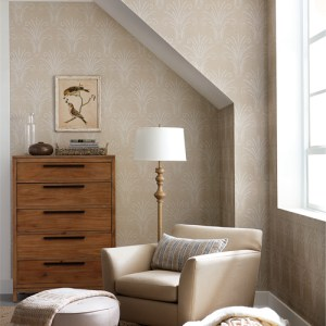 NR1573 York Wallcovering Norlander Candlewick Wallpaper Tan Room Setting
