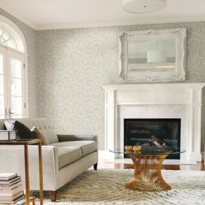 CA1502 York Wallcovering Antonina Vella Deco Cabaret Wallpaper Beige Room Setting