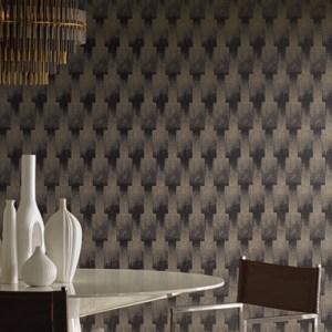 CA1517 York Wallcovering Antonina Vella Deco Flapper Wallpaper Black Room Setting