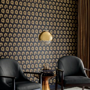 CA1559 York Wallcovering Antonina Vella Deco Coco Bloom Wallpaper Black Room Setting