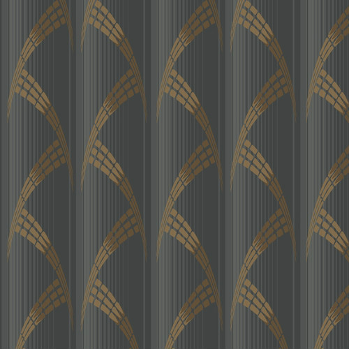 CA1581 York Wallcovering Antonina Vella Deco Metropolis Wallpaper Black