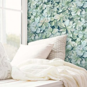 RMK11192WP York Wallcovering RoomMates Hydrangea Peel and Stick Wallpaper Window Seat