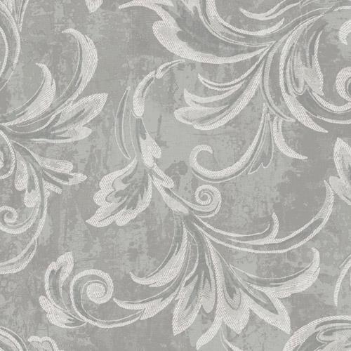 2010100 Seabrook Wallcovering Etten Gallerie Aura Acanthus Wallpaper Grey