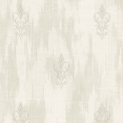 2011105 Seabrook Wallcovering Etten Gallerie Aura Fluer de Lis Wallpaper Off-White