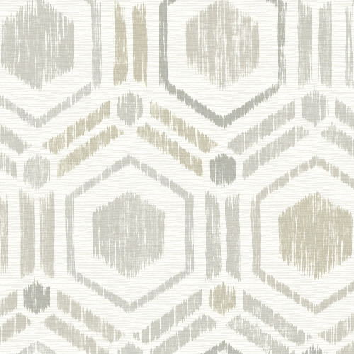 2901-25434 Brewster Wallcovering A Street Prints Perennial Borneo Geometric Grasscloth Wallpaper Light Grey