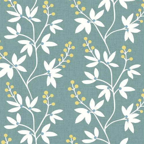 2901-25440 Brewster Wallcovering A Street Prints Perennial Linnea Elsa Botanical Trail Wallpaper Teal