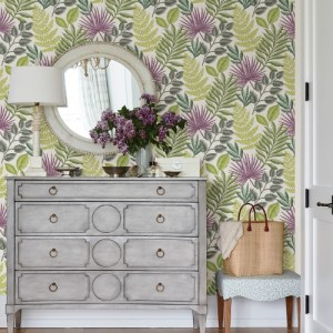 2901-87501 Brewster Wallcovering A Street Prints Perennial Palomas Botanical Wallpaper Green Room Setting