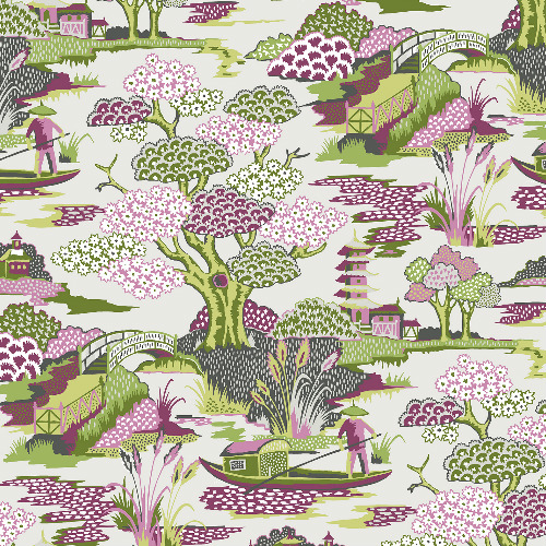 2901-87506 Brewster Wallcovering A Street Prints Perennial Joy De Vie Toile Wallpaper Magenta