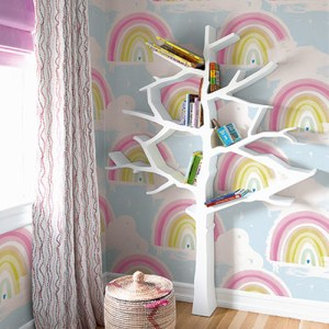 DA60202 Seabrook Wallcovering Day Dreamers Rainbow Wallpaper Pastel Room Setting