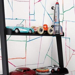 DA62101 Seabrook Wallcovering Day Dreamers Geo Creative Wallpaper Mutli-color Room Setting