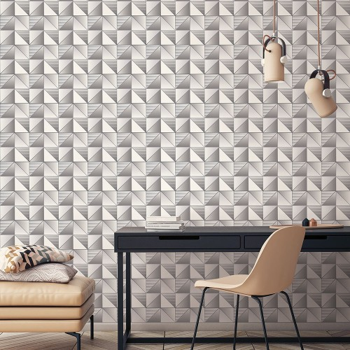GX37630 Patton Wallcovering Norwall GeometriX Cubist Wallpaper Silver Room Setting