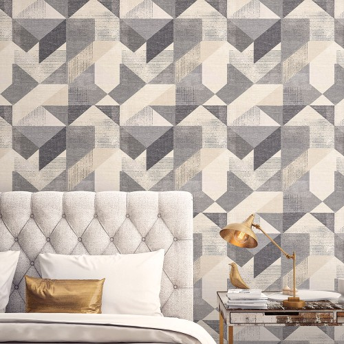 GX37657 Patton Wallcovering Norwall GeometriX Silk Screen Geometric Wallpaper Black Room Setting