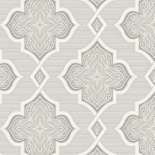 2011208 Seabrook Wallcovering Etten Gallerie Aura Paisley Quatrefoil Wallpaper Grey