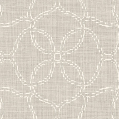 211507 Seabrook Wallcovering Etten Gallerie Aura Embroidered Trellis Wallpaper Grey