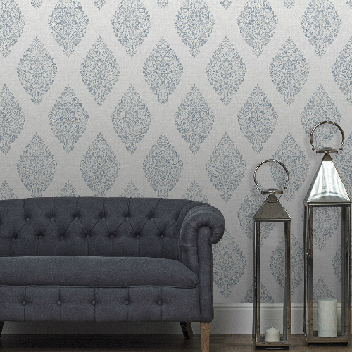 2834-25044 Brewster Wallcovering Advantage Metallic Pascale Medallion Wallpaper Light Grey Room Setting