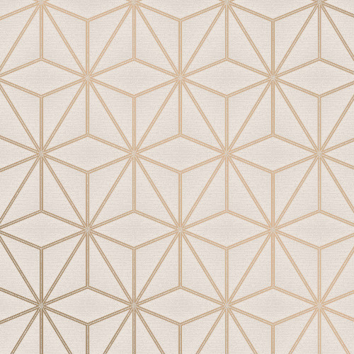 2834-42346 Brewster Wallcovering Advantage Metallic Augustin Geometric Wallpaper Rose Gold