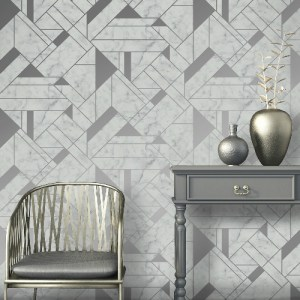 2834-M1467 Brewster Wallcovering Advantage Metallic Gulliver Marble Geometric Wallpaper Silver Room Setting
