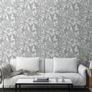 2836-M1379 Brewster Wallcovering Advantage Shades of Grey Cinna Wild Flowers Wallpaper Silver Room Setting