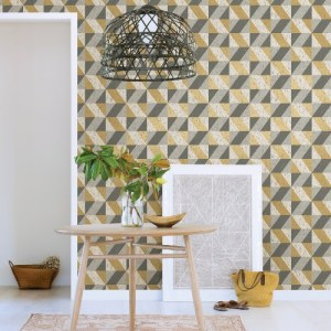 2908-25311 Brewster Wallcovering A Street Prints Alchemy Cerium Concrete Geometric Wallpaper Metallic Room Setting