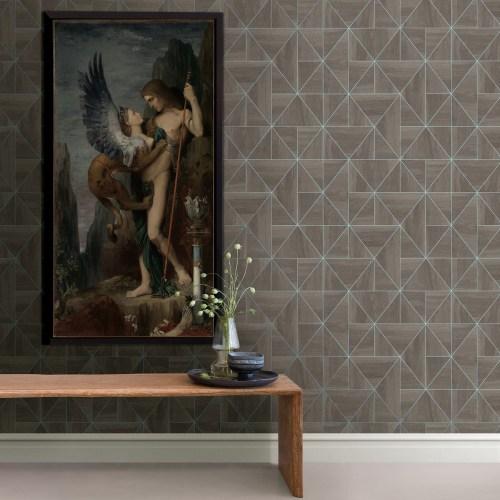 2908-25322 Brewster Wallcovering A Street Prints Alchemy Cheverny Geometric Wood Wallpaper Coffee Room Setting