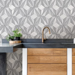 2908-87101 Brewster Wallcovering A Street Prints Alchemy Paragon Geometric Wallpaper Black Room Setting