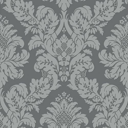 UK10435 Seabrook Wallcovering Pear Tree Studio Shimmer Glitter Damask Wallpaper Dark Grey